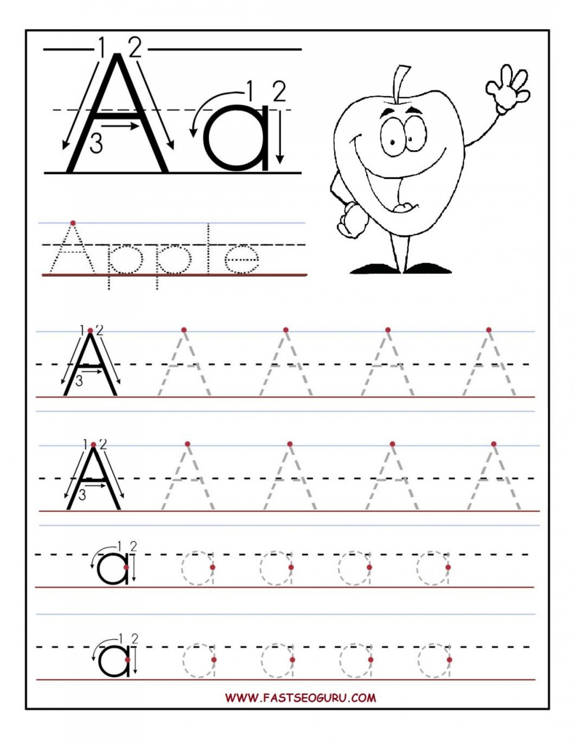 Reading Worksheets Free Printing For Kindergarten Worksheet in Alphabet Tracing Letters