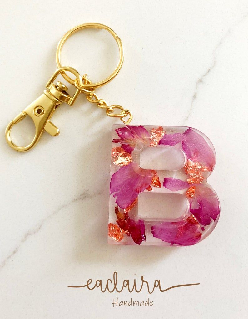 Real Flower Resin Keychain Rose Petals Keychain Handmade