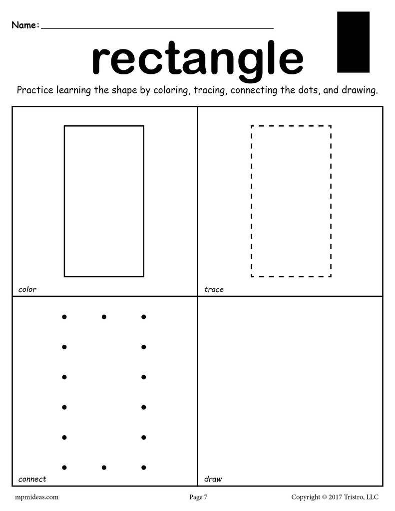Rectangle Shape Worksheet: Color, Trace, Connect, & Draw