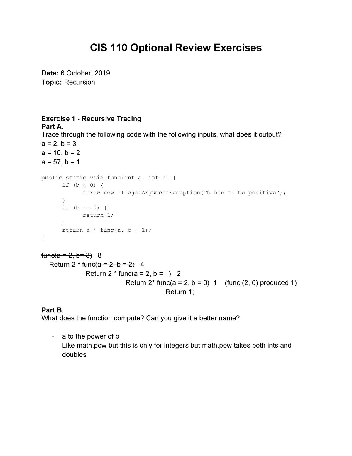 Recursion Worksheet - Cis 110 - Upenn - Studocu