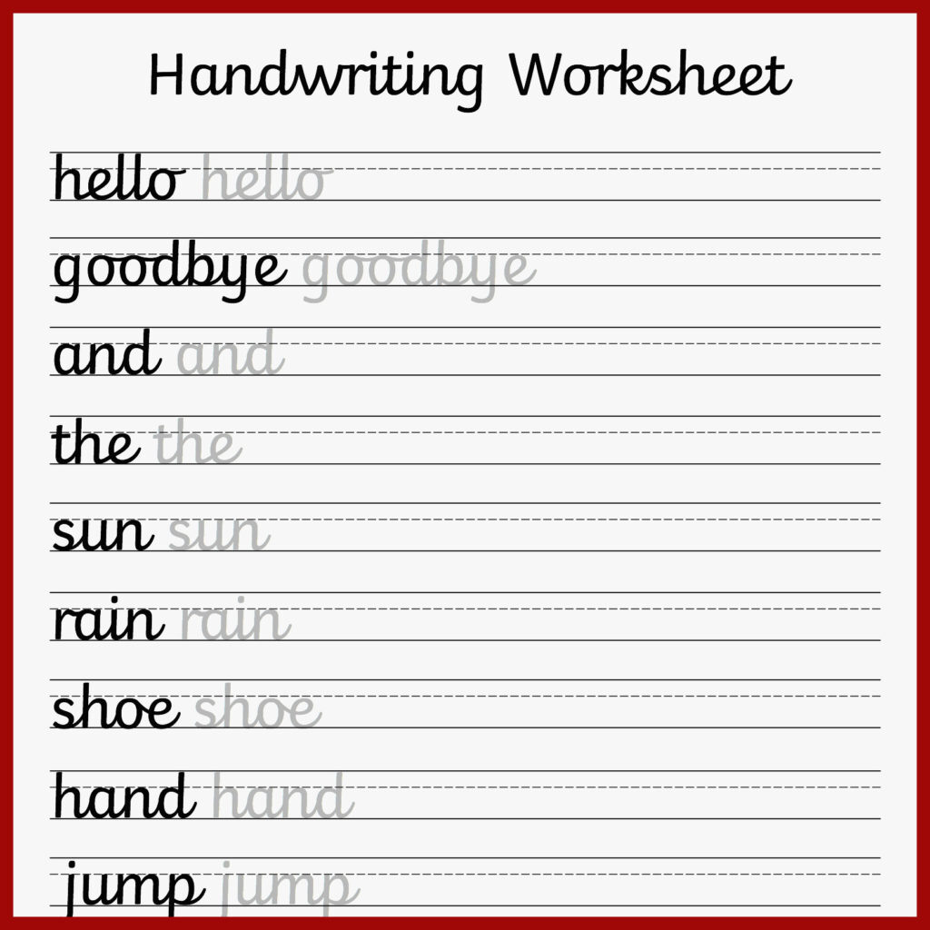 Remarkable Printable Handwriting Practice Sheets