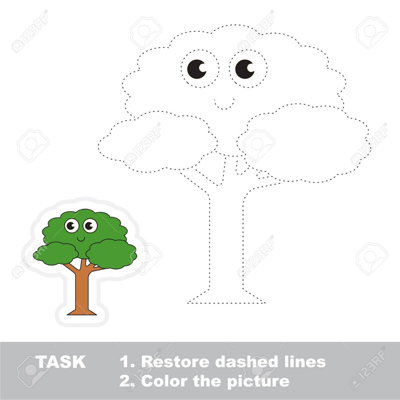Restore Dashed Line And Color The Picture, The Educational Vector..