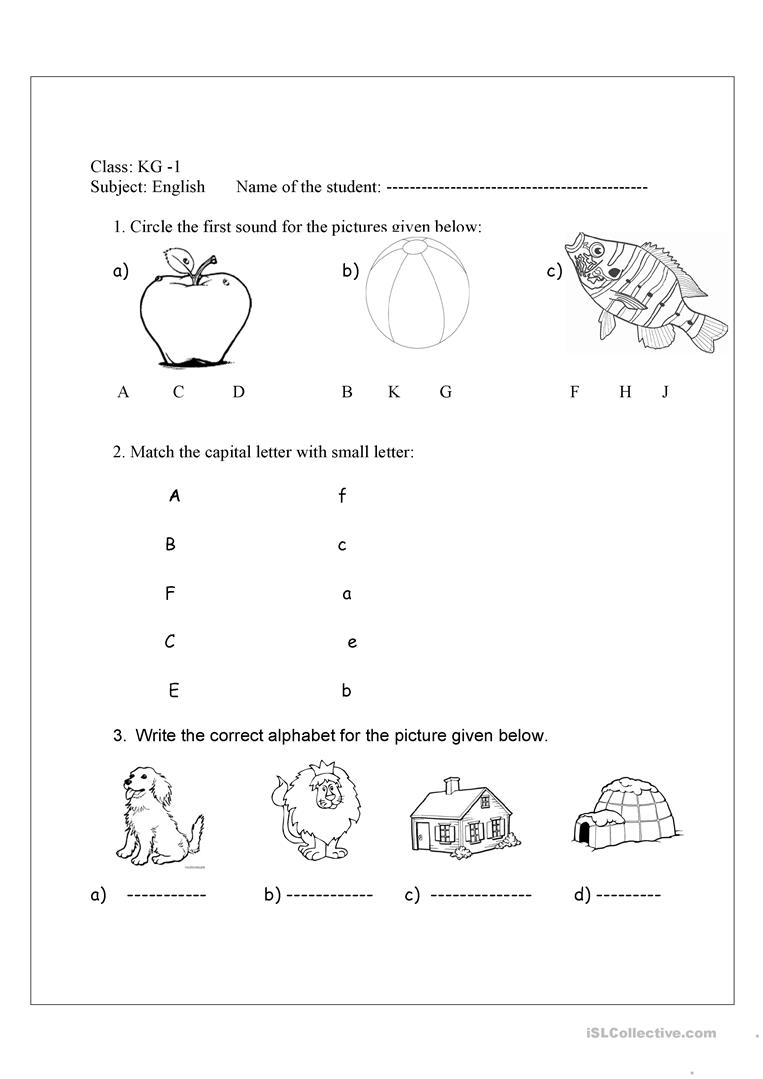 Review Test A-J - English Esl Worksheets For Distance within Alphabet Worksheets For Kg1