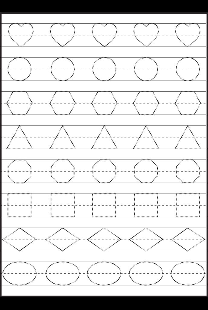 Shape Tracing | Preschool Worksheets, Preschool Writing, Fun