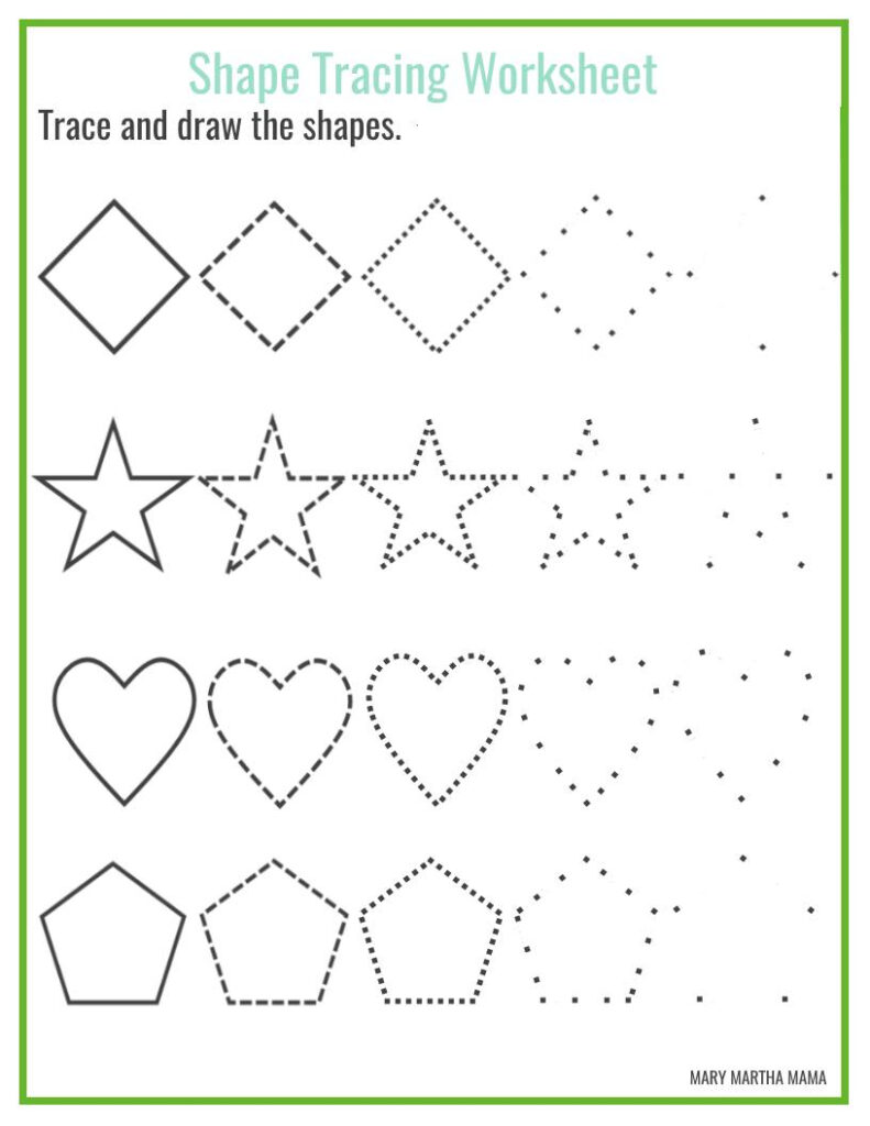 Shape Tracing Printable Name Worksheets Free For Toddlers