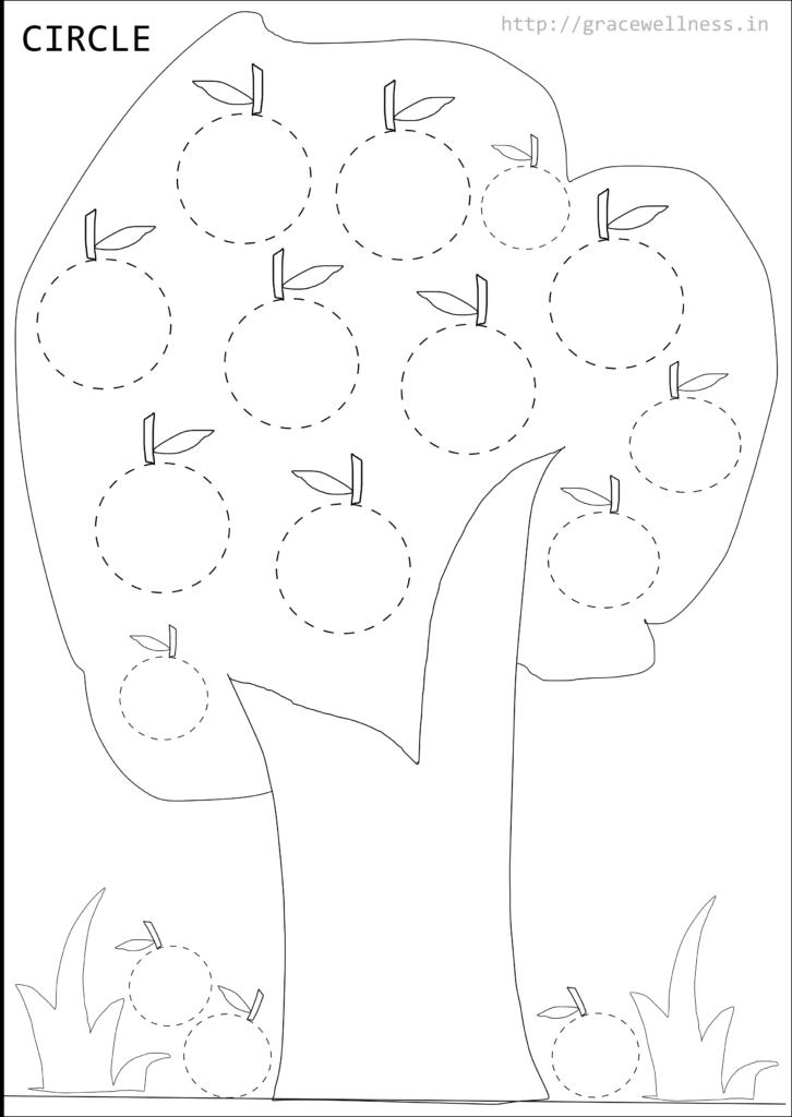 Shape Tracing Worksheet For Preschool Printable | Circle