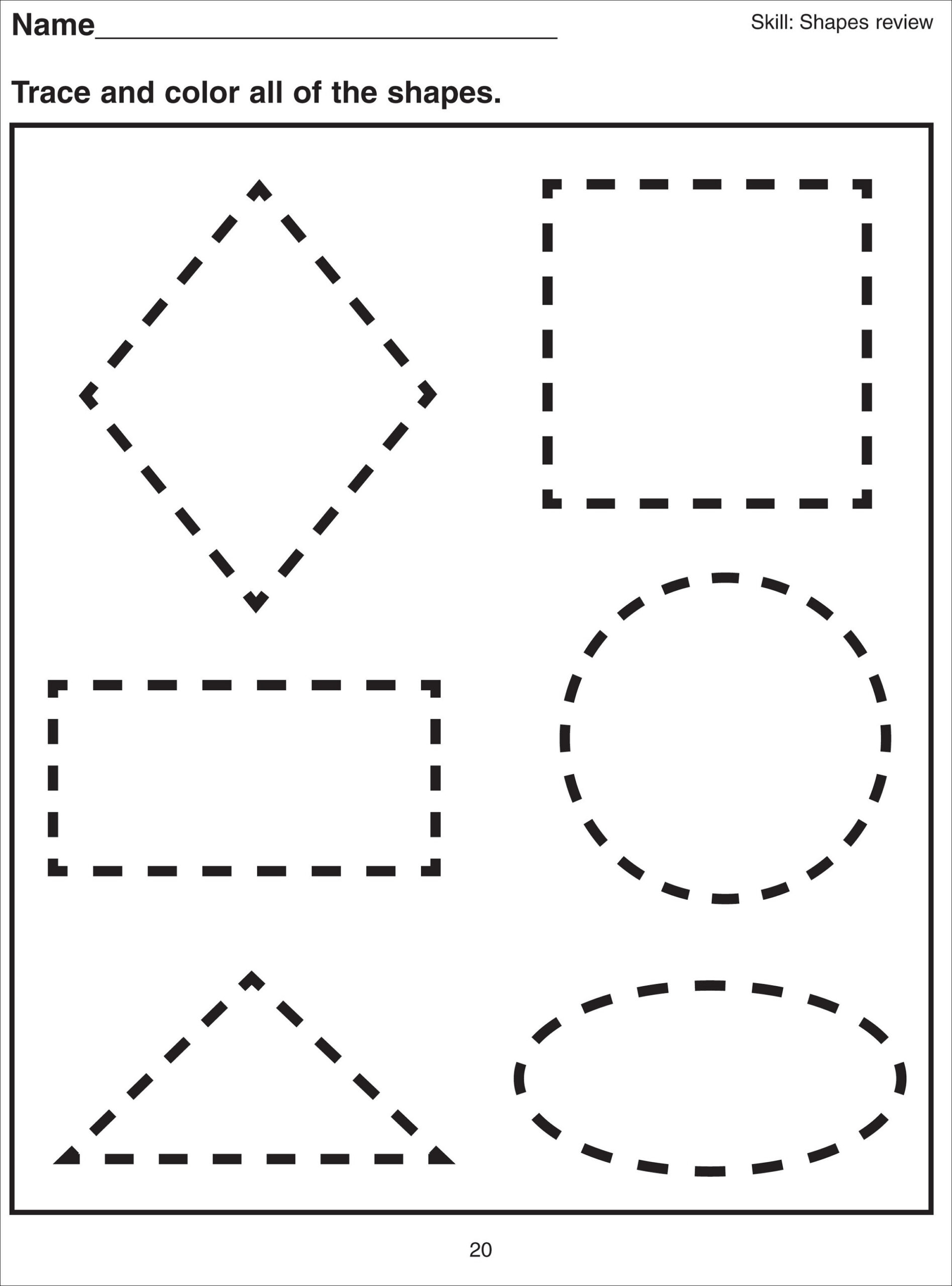 Shape Tracing Worksheets For Print Free Multiplication Table