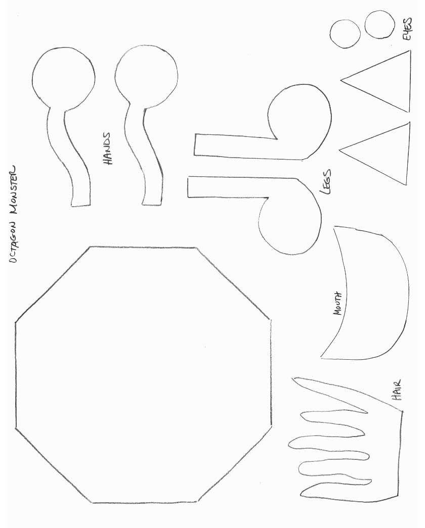 Shapes Crafts - Print Your Octagon Monster Template At