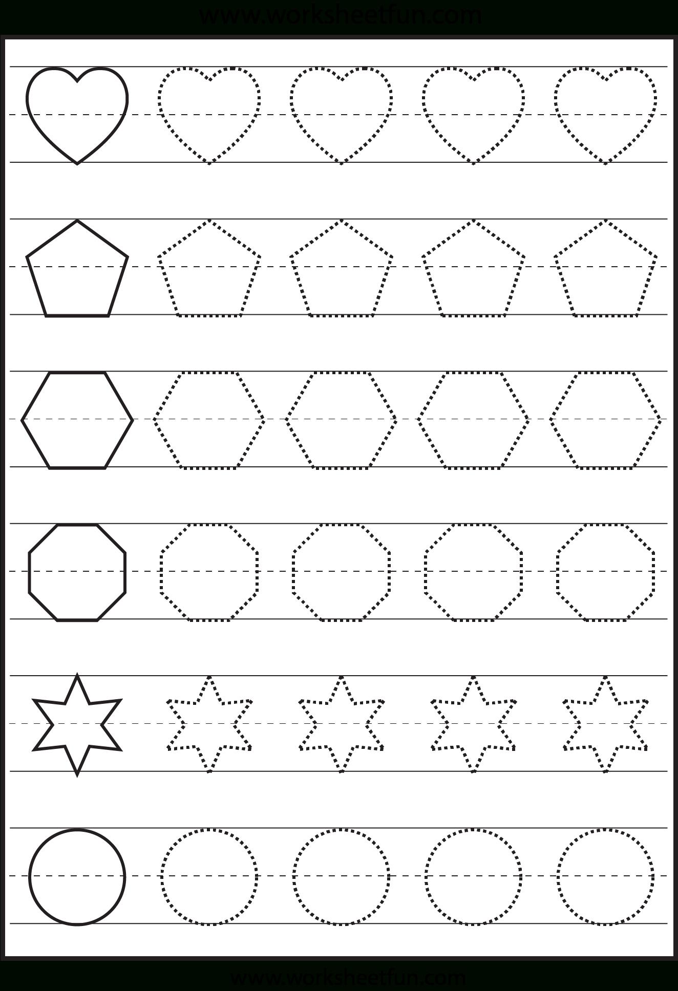 Shapes | Tracing Worksheets Preschool, Shape Tracing