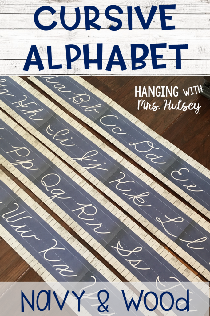 Shiplap And Navy Cursive Alphabet (Zaner Bloser) | Cursive