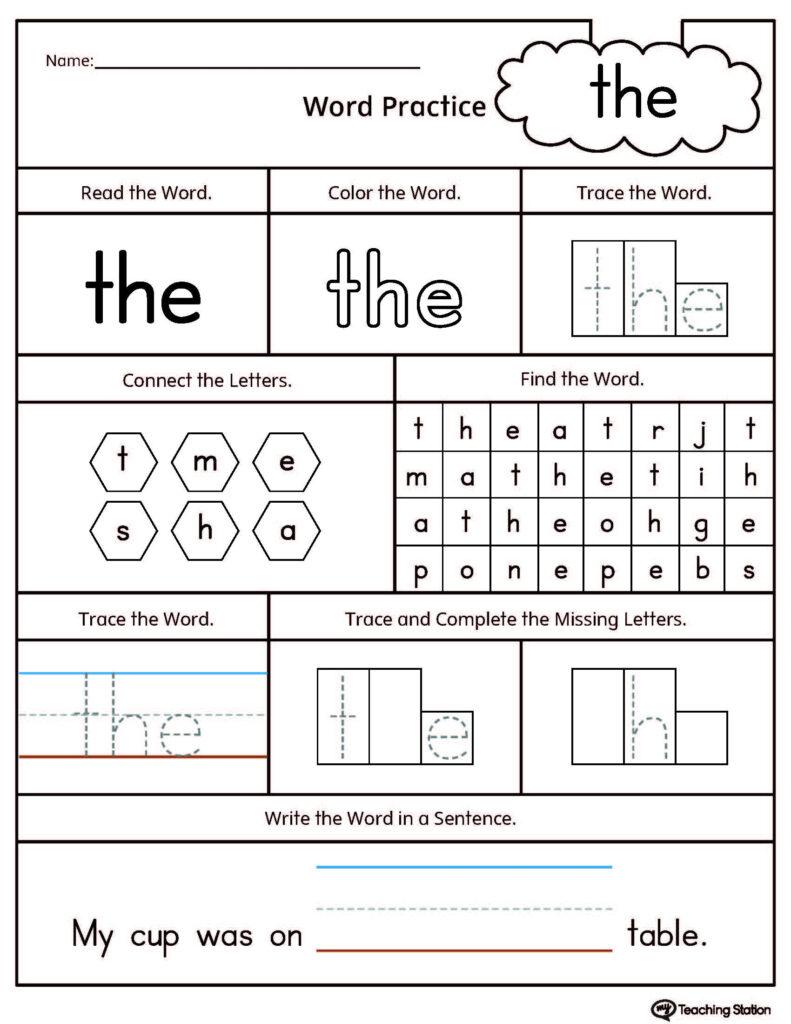Sight Word The Printable Worksheet | Myteachingstation