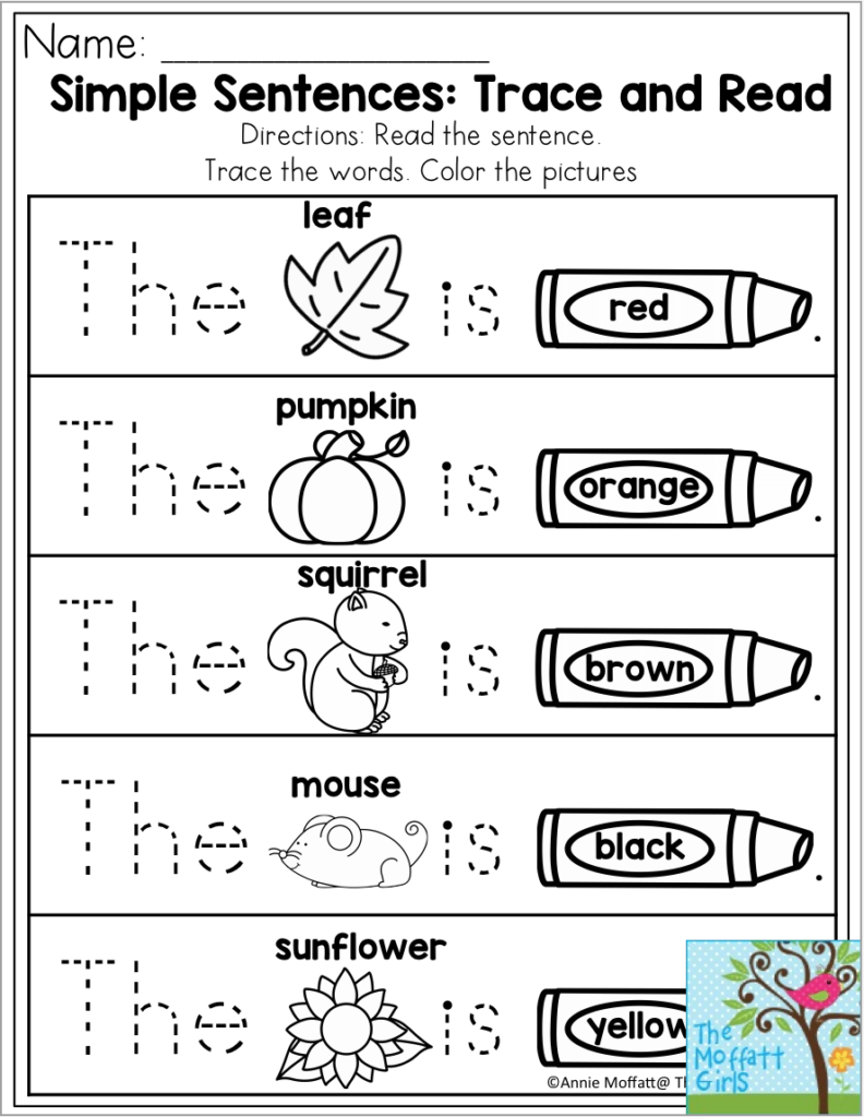 Simple Sentences: Trace And Read. This Exercise Gives
