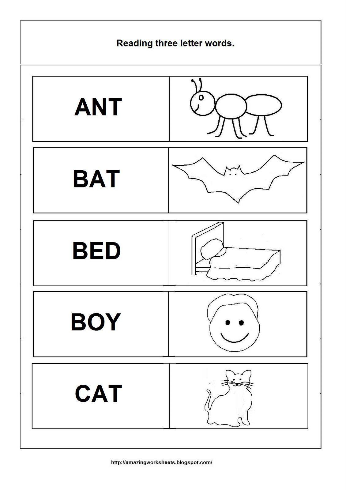 Simple Words - Worksheet | Three Letter Words, Letter N