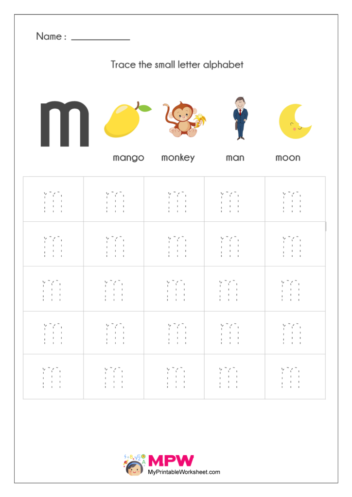 Small Letter Alphabets Tracing And Writing Worksheets Printable Regarding Alphabet Tracing Lowercase