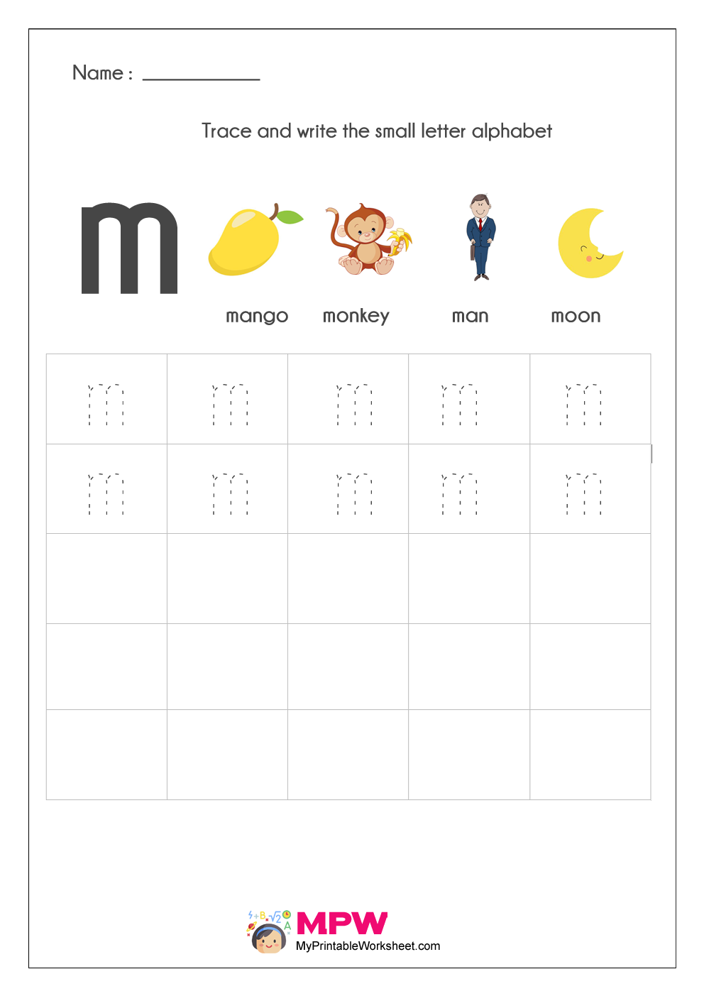 Small Letter Alphabets Tracing And Writing Worksheets Printable with regard to Letter M Tracing Worksheet