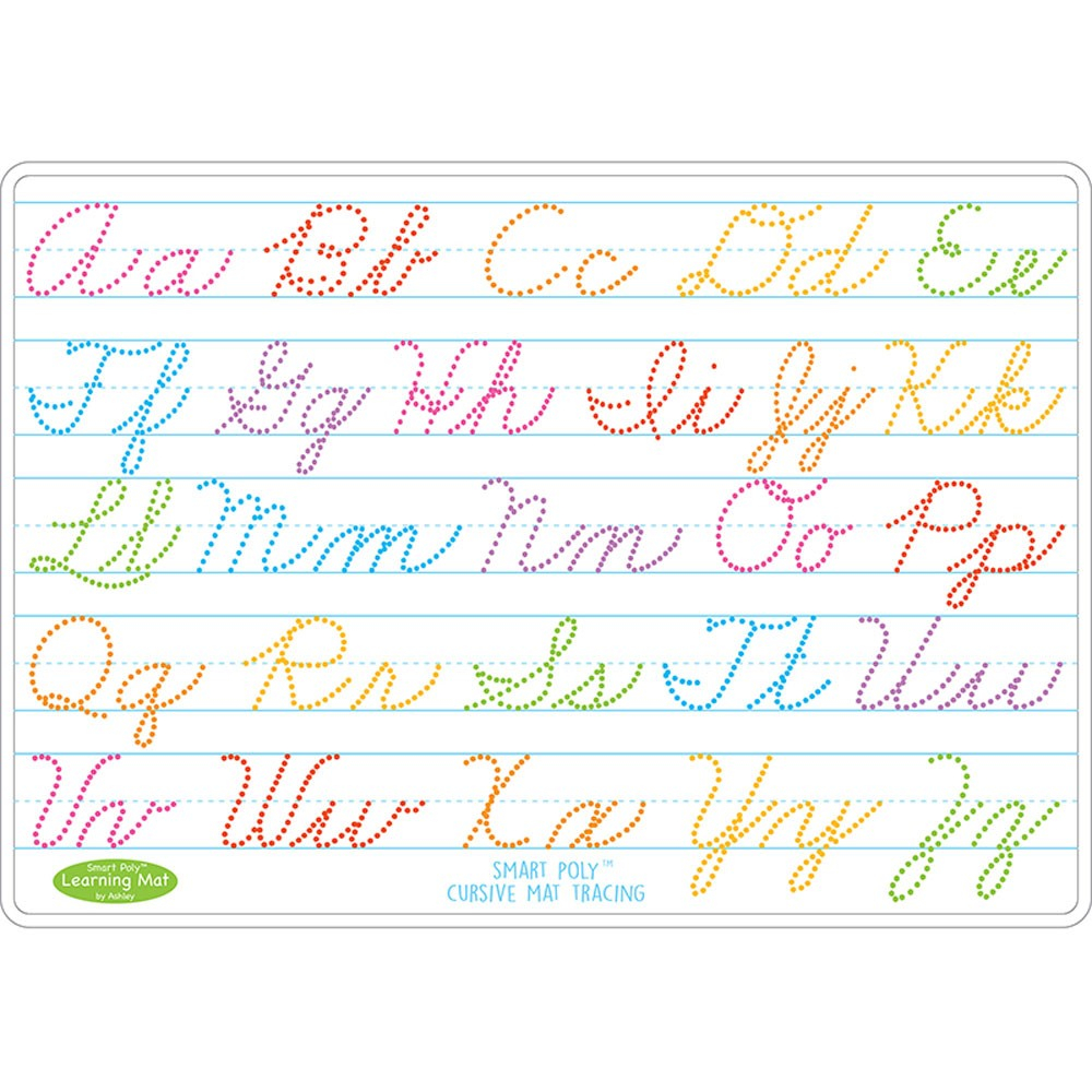 """Smart Poly Learning Mats, 12"""" X 17"""", Double-Sided, Cursive Tracing, Pack Of  10"""