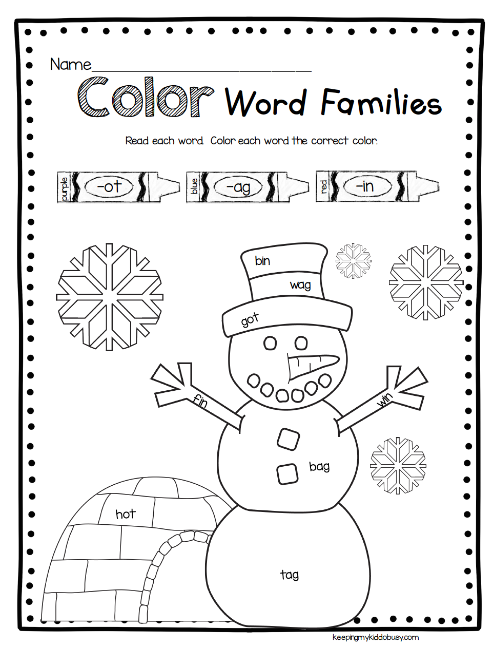 Snowman Math And Reading Activities - Winter Worksheets