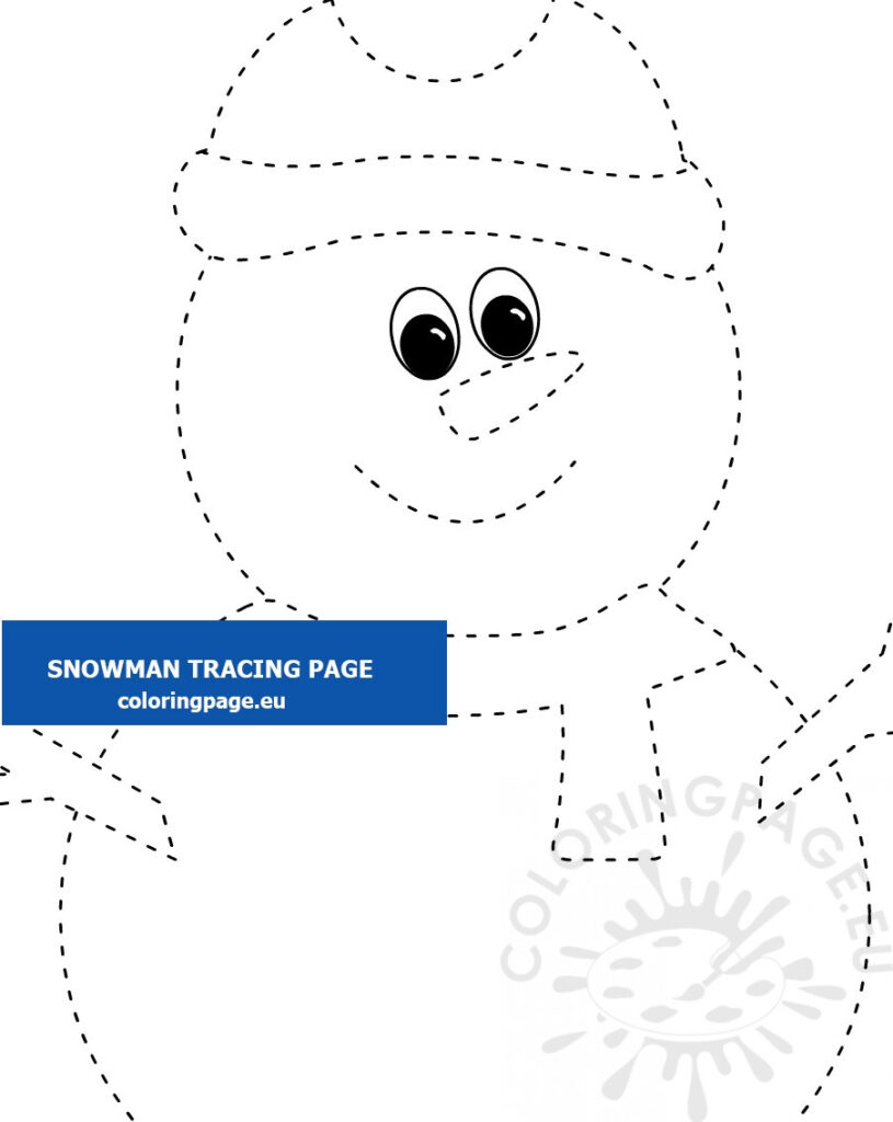 Snowman Tracing Worksheet Printable – Coloring Page