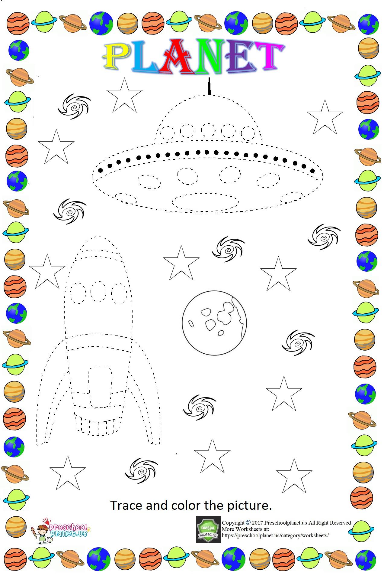 Space Themed Trace Worksheet – Preschoolplanet