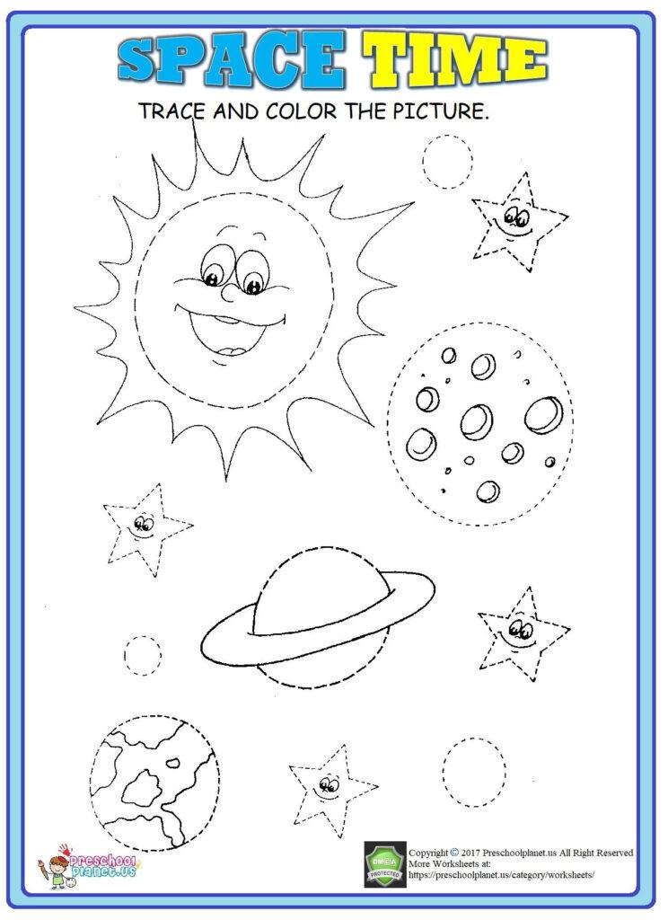 Space Trace Worksheet | Preschool Math Worksheets, Space