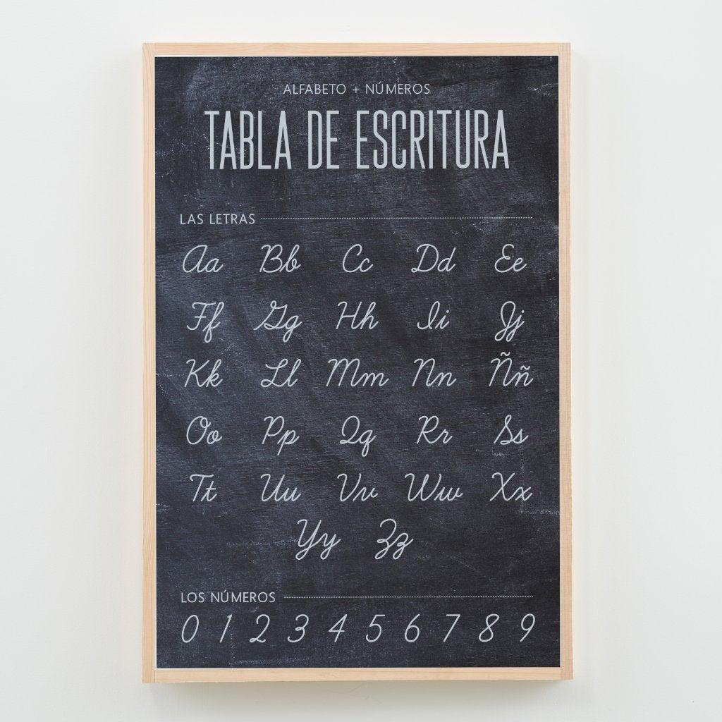 Spanish Cursive Writing Chart Classroom Poster Or Homeschool Decor  {Chalkboard}