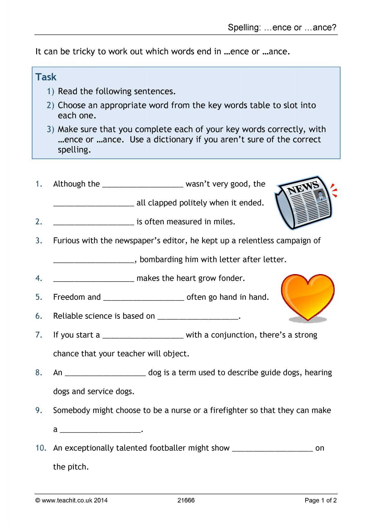Spelling Ence Or Ance Stage English Worksheets X46260 Peed with Key Stage 1 Alphabet Worksheets
