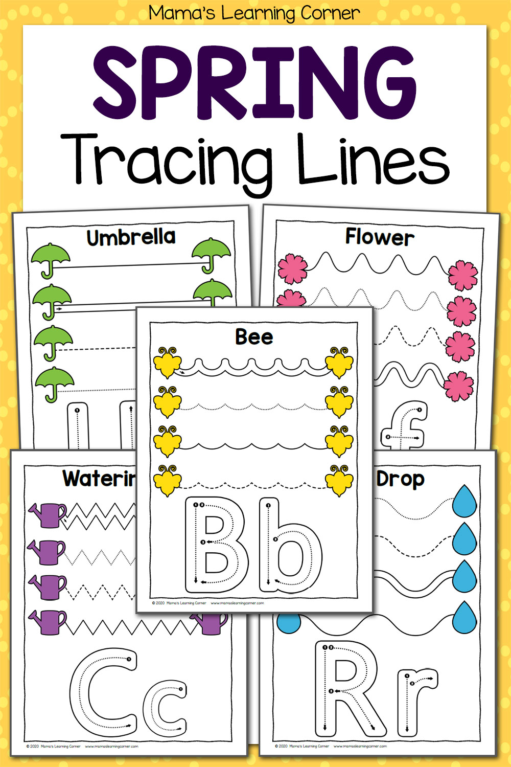 Spring Tracing Worksheets For Preschool - Mamas Learning Corner