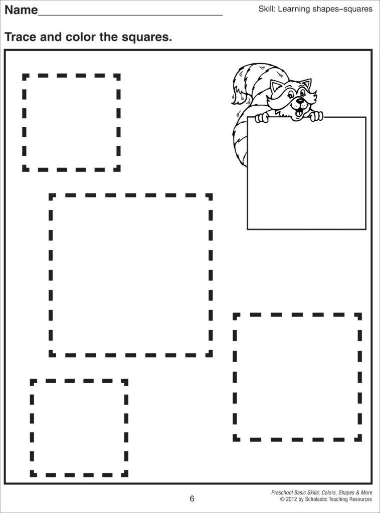 Square Coloring Pages | Preschool Tracing, Shapes Preschool