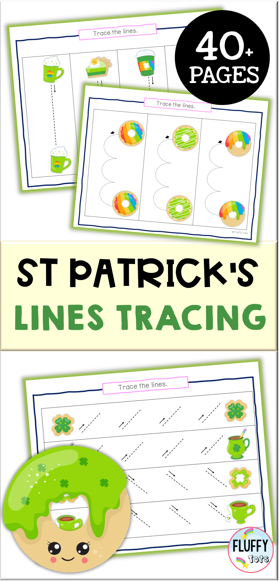 St Patrick & # 39; S Day Pre-Writing Tracing For Preschool