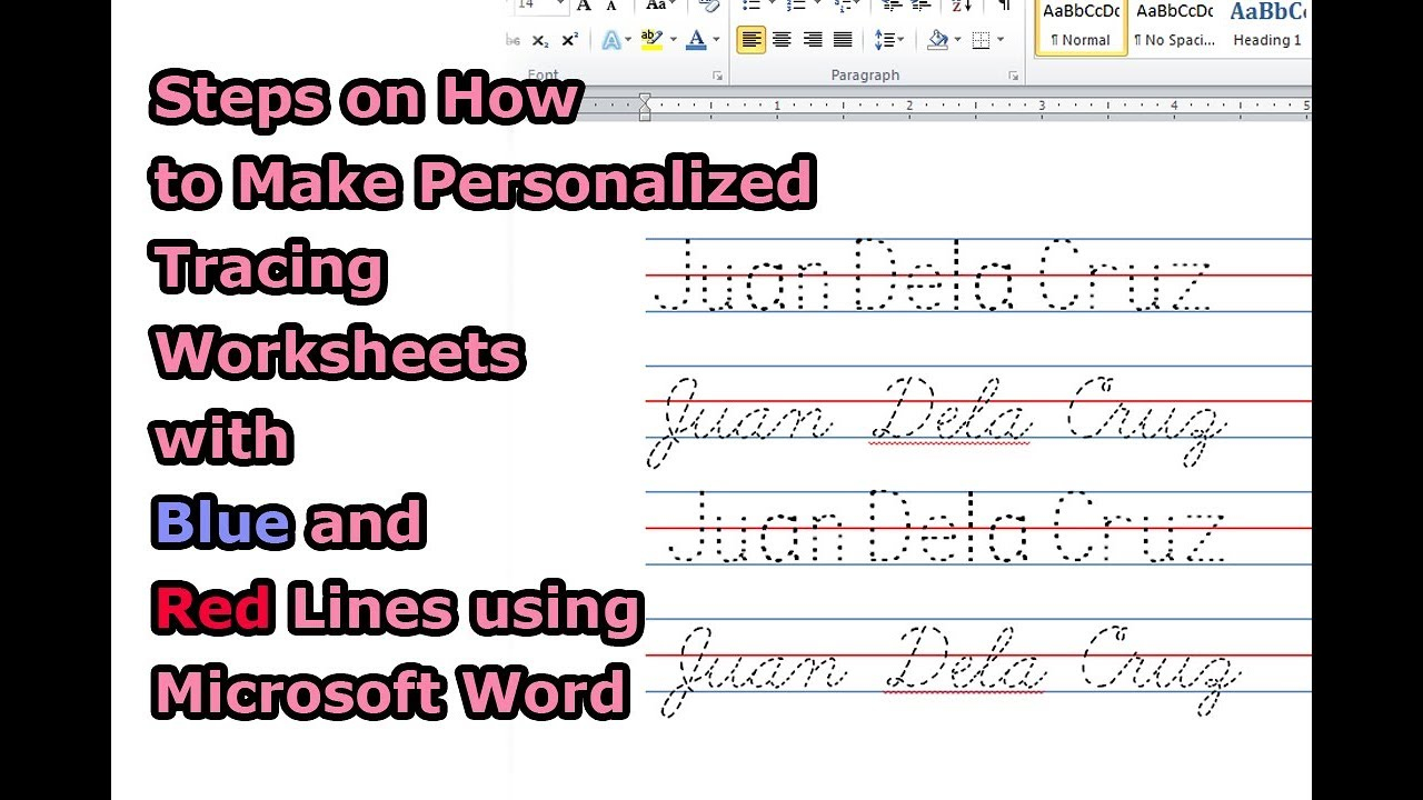 Steps On How To Make Personalized Tracing Worksheets With Blue And Red  Lines Using Microsoft Word within Name Tracing Font With Lines