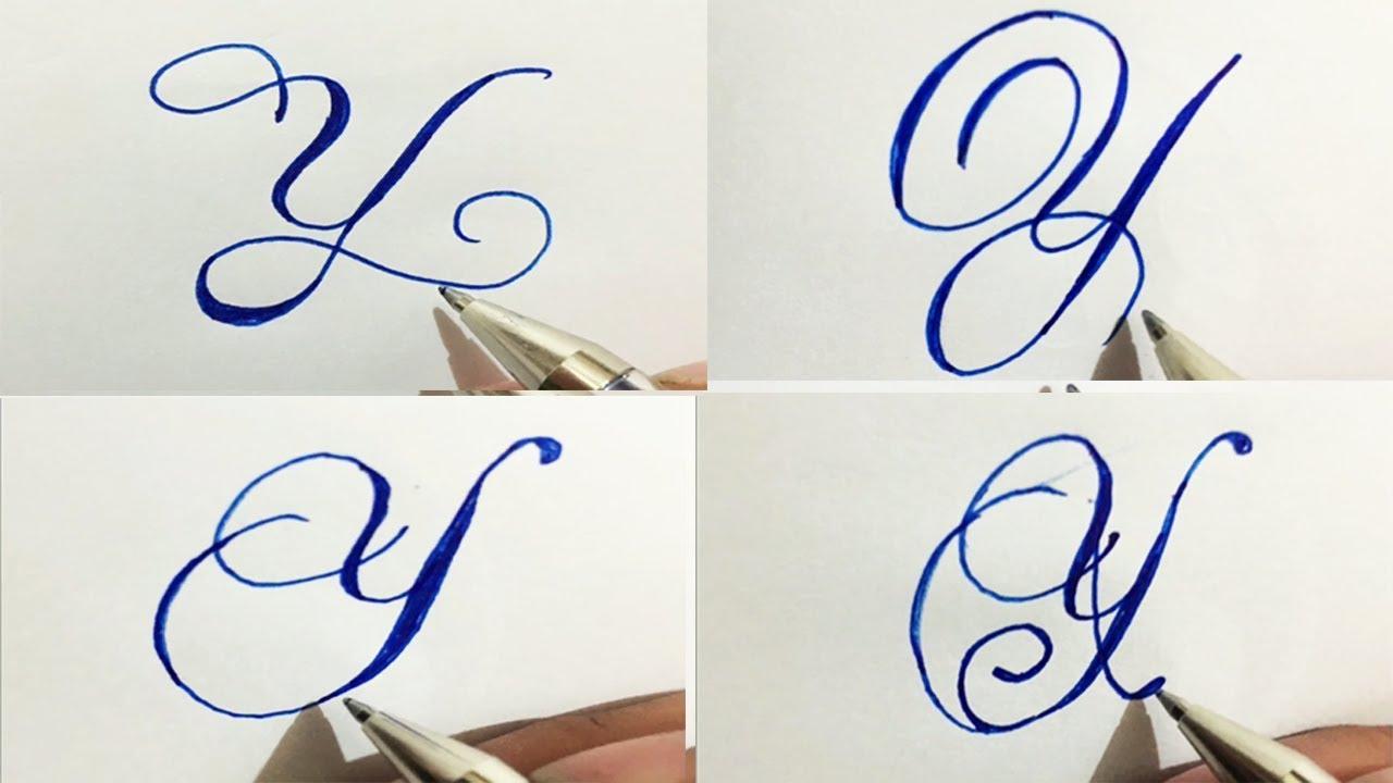 Stylish Cursive Handwriting Calligraph Capital Alphabetatoz In 4 Styles Of  Y | Umar Calligraphy
