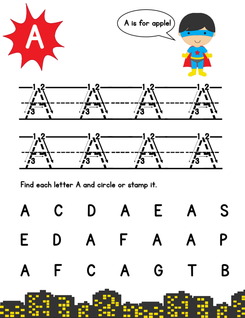 Super Hero Page A | Tracing Letters, Lettering, Letter