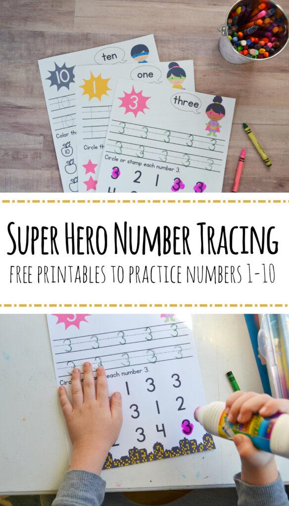 Super Hero Preschool Number Worksheets [Numbers 1 10] – Mary