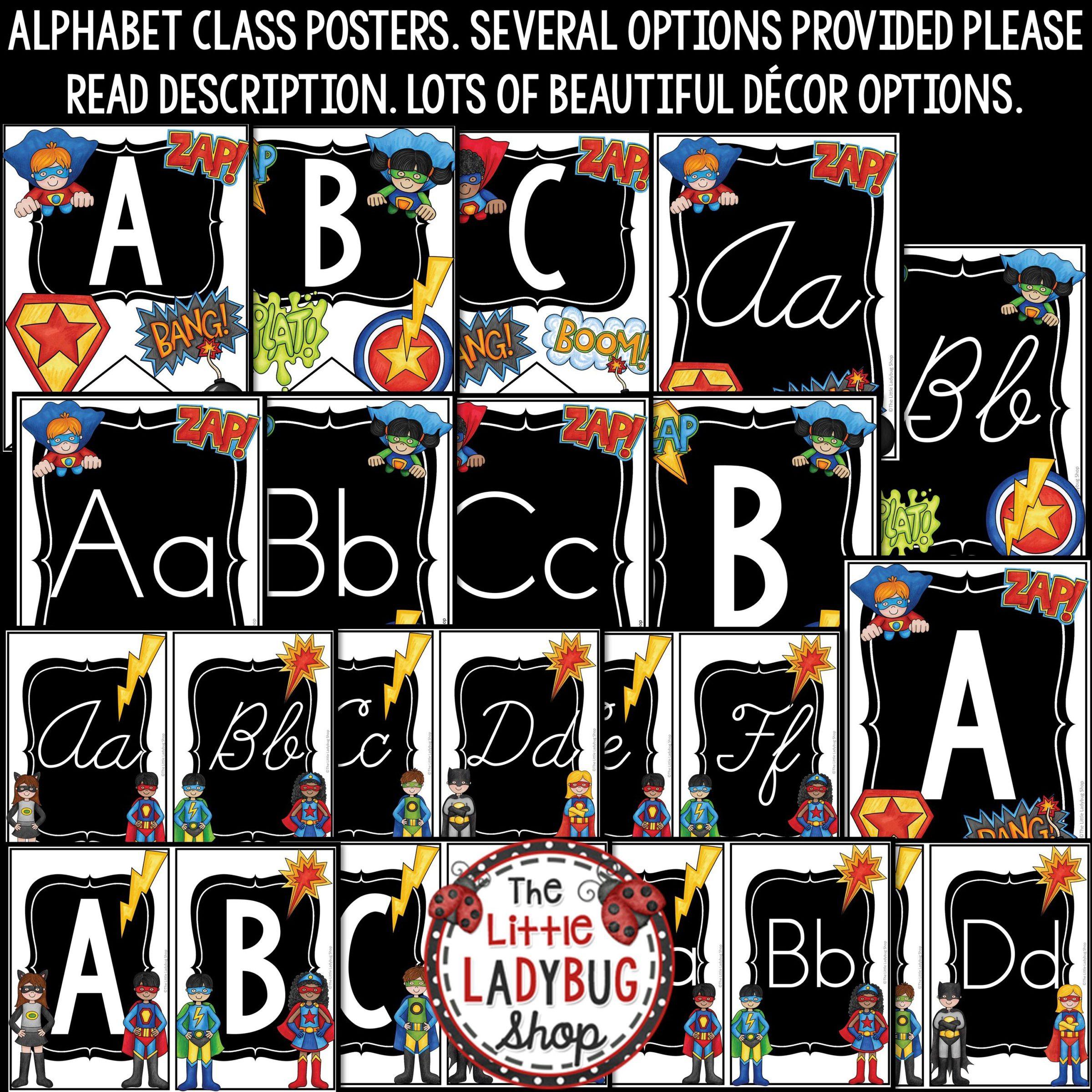 Superhero Classroom Theme Decor: Print & Cursive Alphabet Posters Bulletin  Board