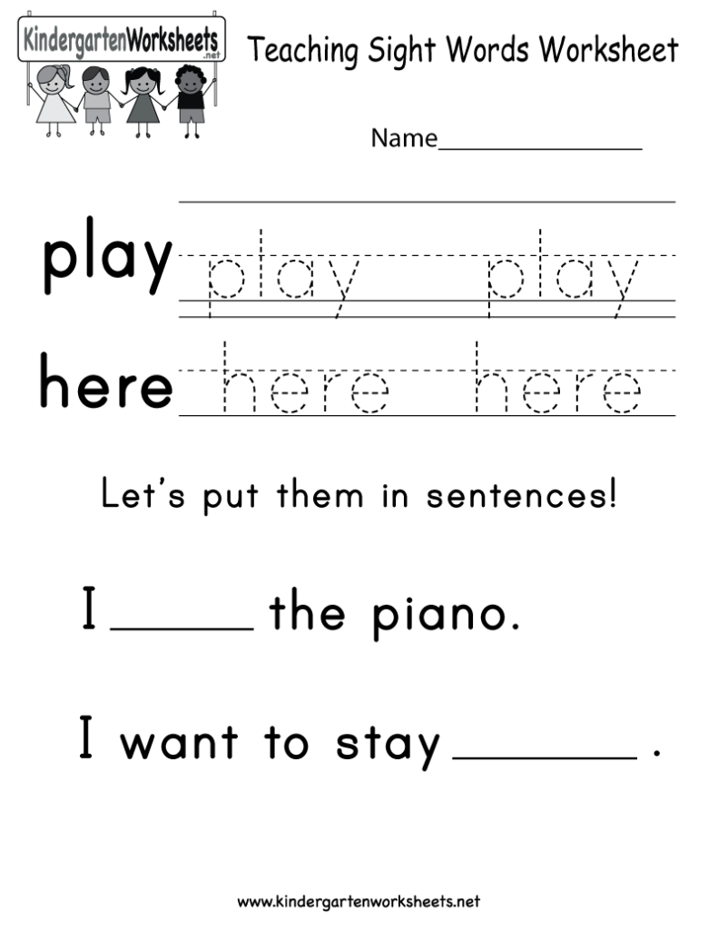 Teaching Sight Words Worksheet   Free Kindergarten English