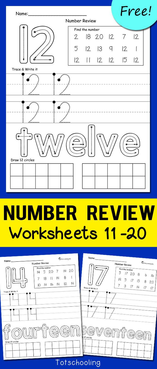 Teen Number Worksheets 11-20 | Totschooling - Toddler