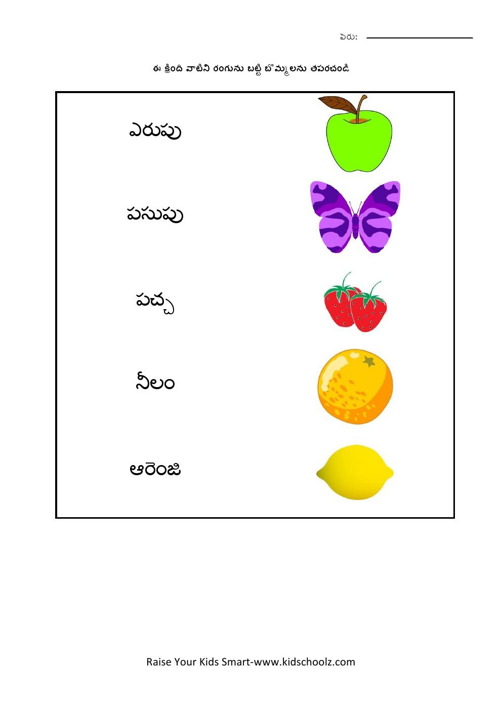 Telugu- Colors Worksheet 2 - Kidschoolz
