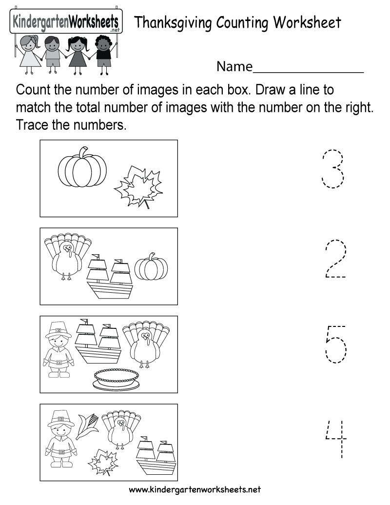 Thanksgiving Counting Worksheet - Free Kindergarten Holiday
