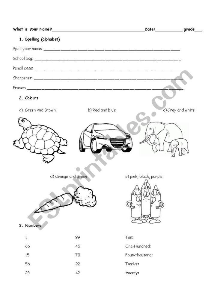 The Alphabet, Colours, Numbers Exam   Esl Worksheet In Alphabet Exam Worksheets