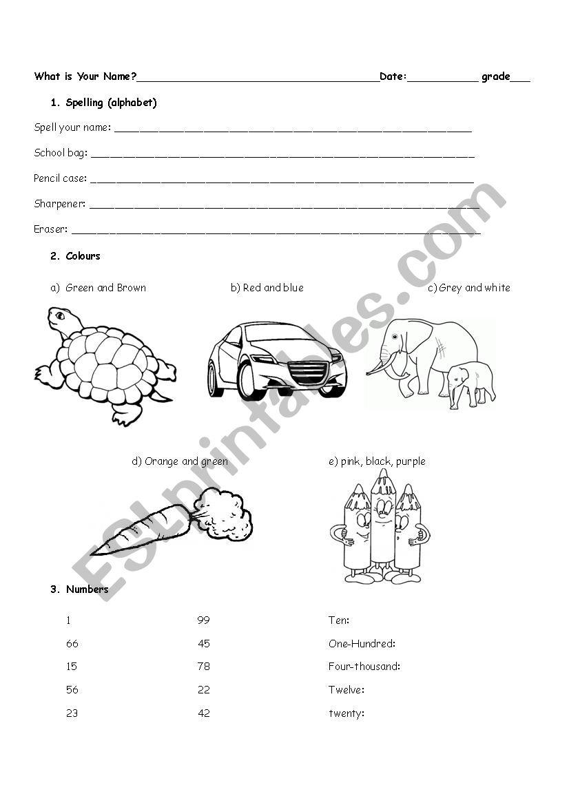 The Alphabet, Colours, Numbers Exam - Esl Worksheet in Alphabet Exam Worksheets