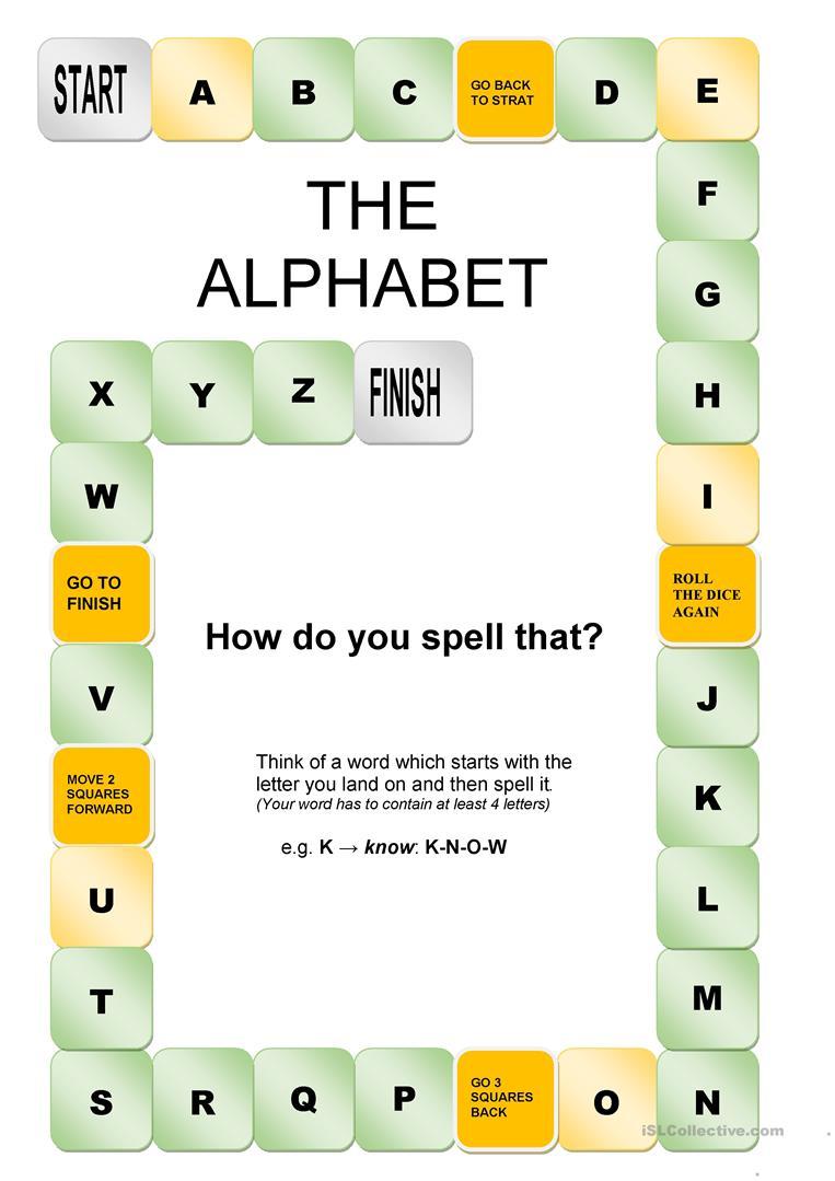 The Alphabet Game - English Esl Worksheets For Distance for Alphabet Game Worksheets