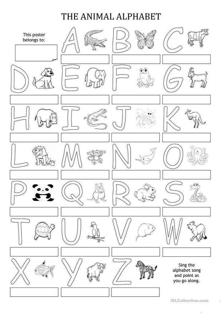 The Animal Alphabet   Poster | Alphabet Printables, Learning In Alphabet Worksheets For Esl