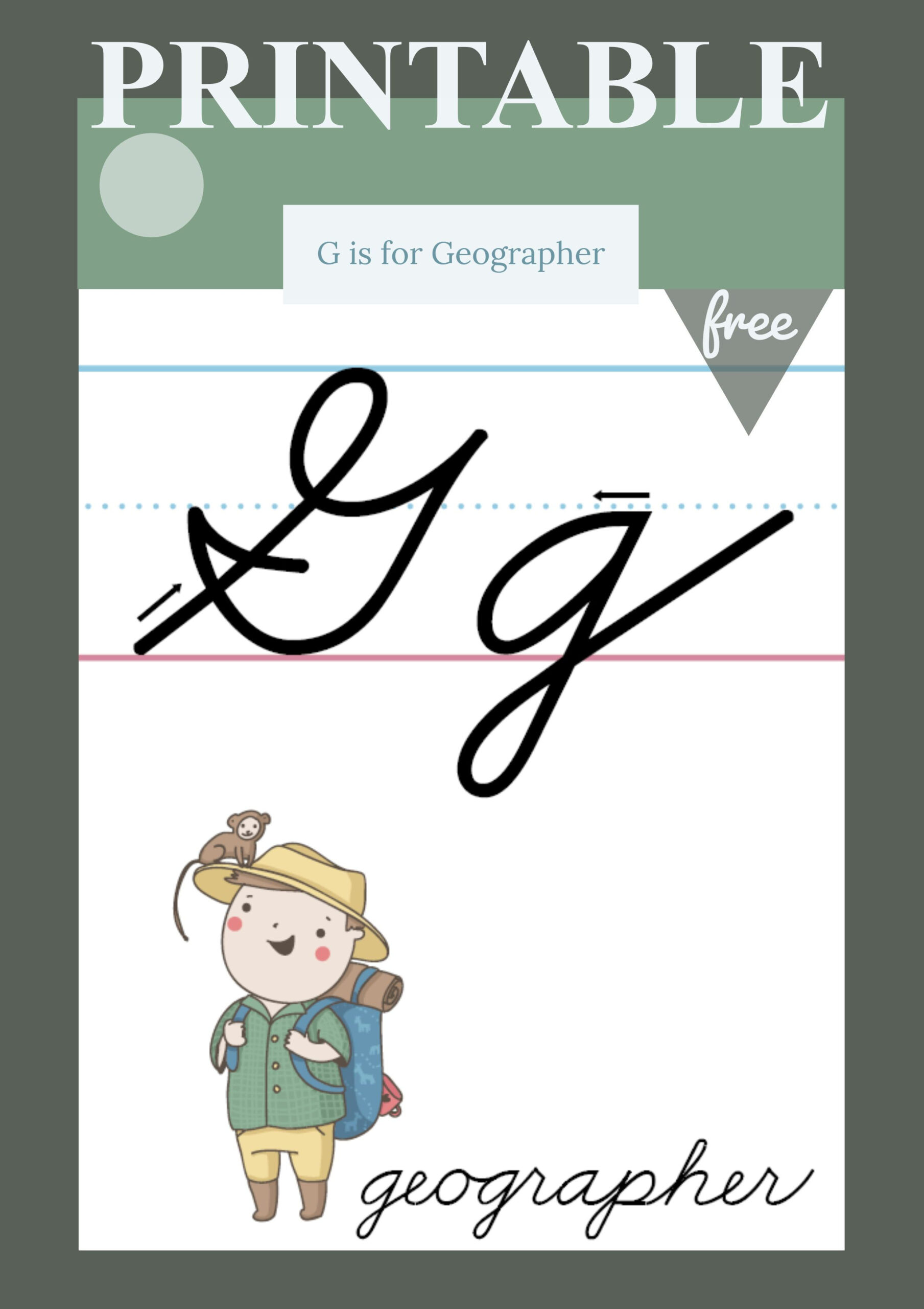 The Letter G In Cursive - Printable Poster (With Images) | G