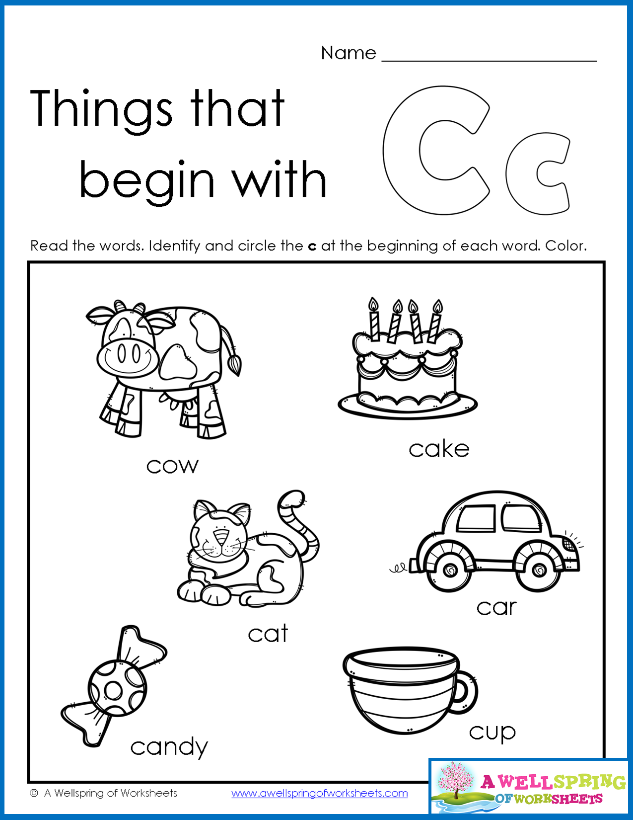 Things That Begin With A-Z Worksheets Kids Read The Words Of for Letter 6 Worksheets