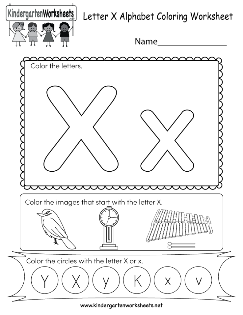 This Is A Coloring Worksheet For Letter X. Children Can Throughout Letter X Worksheets For Preschool