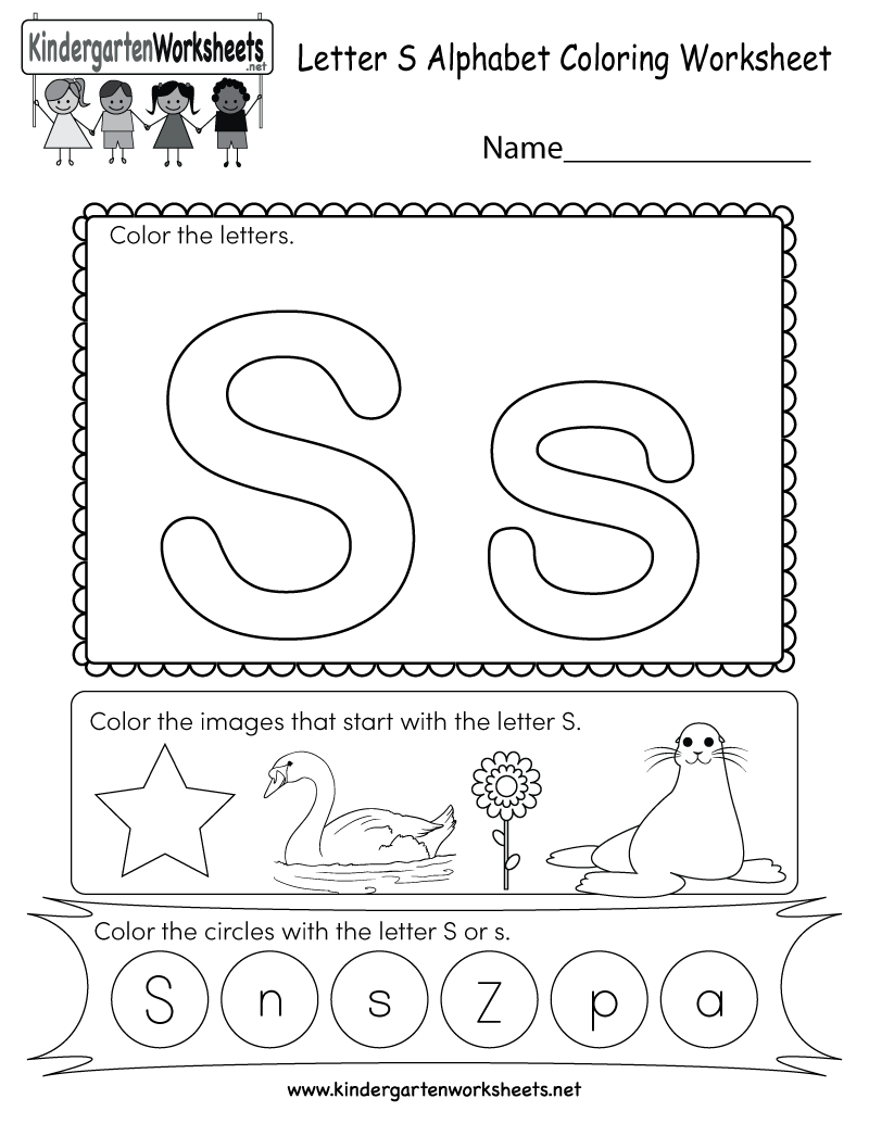 This Is A Letter S Coloring Worksheet. Children Can Color for Letter S Worksheets Kindergarten Free