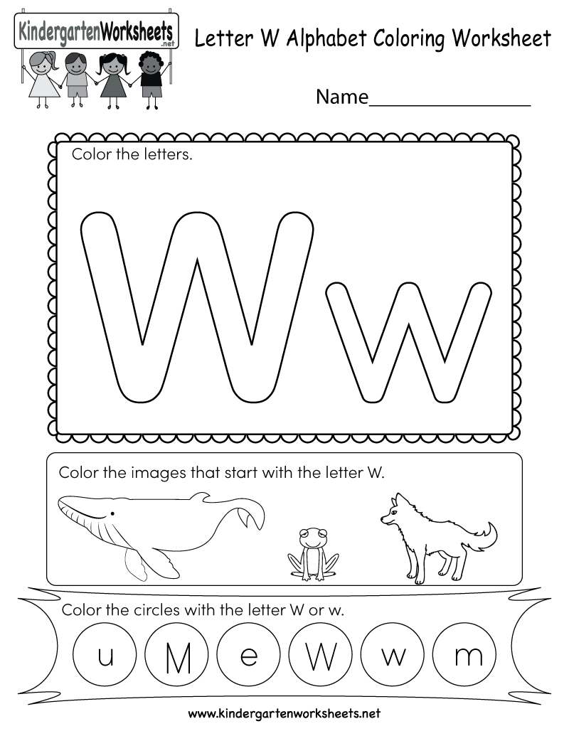 This Is A Letter W Coloring Worksheet. Children Can Color in Letter W Worksheets For Kindergarten