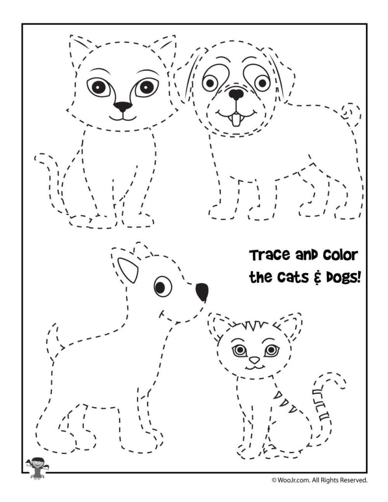 Trace And Color The Animals Worksheet | Woo! Jr. Kids