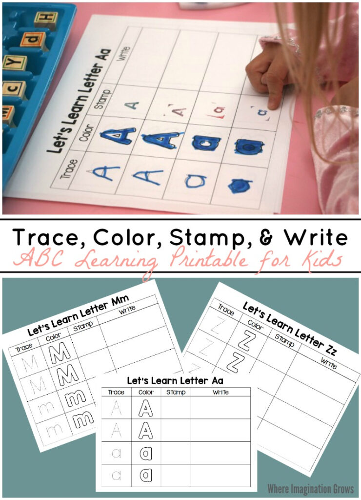 Trace, Color, Stamp & Write   Abc Printable For Kids   Where Regarding Alphabet Tracing Stamps