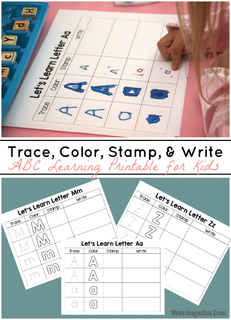 Trace, Color, Stamp & Write - Abc Printable For Kids - Where regarding Alphabet Tracing Stamps